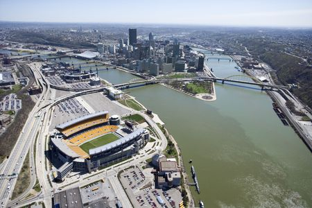 pittsburgh: Aerial view of Pittsburgh, Pennsylvania with skyscrapers and stadium and rivers.