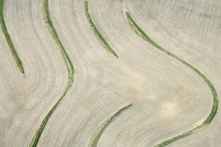 cropland: Aerial view of cropland with curvy lines.
