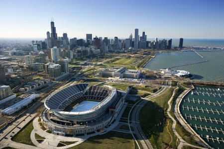 Aerial view of Chicago, Illinois skyline with Soldier Field. photo