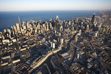 chicago skyline: Aerial view of Chicago, Illinois.