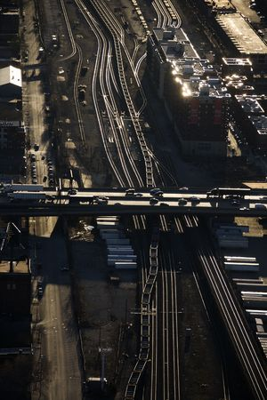 overpass: Aerial view of highway overpass and railroad tracks in Chicago, Illinois. Stock Photo