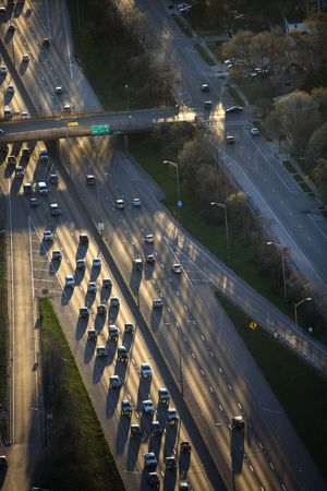 Aerial view of traffic on Dan Ryan Expressway in Chicago, Illinois. Stock Photo - 2095553