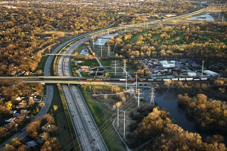 railway transportation: Aerial view of interstate and railroad in Chicago, Illinois.