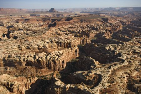 landforms: Aerial view of gorge in Canyonlands National park, Utah.