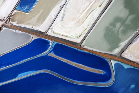 tailings: Aerial view of tailing ponds in Utah, USA.
