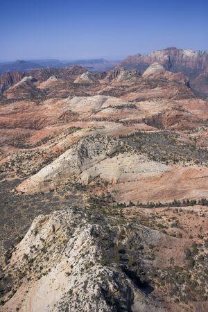 Aerial of desert landscape in Zion National Park in Utah, USA. photo