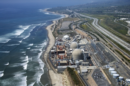 Aerial of nuclear power plant on California coast, USA.