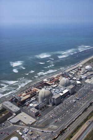 nuclear power plant: Aerial of nuclear power plant on California coast, USA.