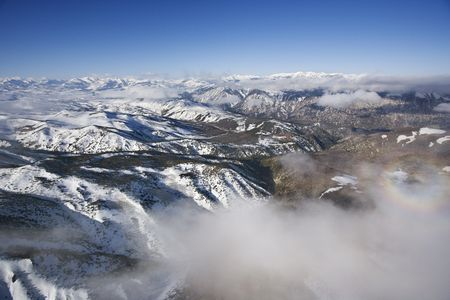 Aerial of snow covered Sweetwater mountain range in California, USA. photo