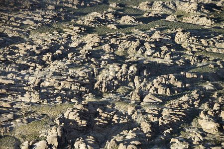 Aerial of rocky terrain in Alabama Hills, California, USA. Stock Photo - 2095106
