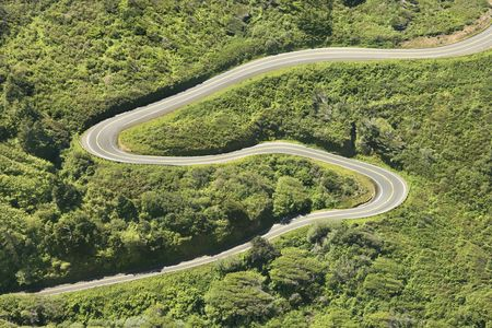 curvy: Aerial of winding country road Shoreline Highway in California, USA.