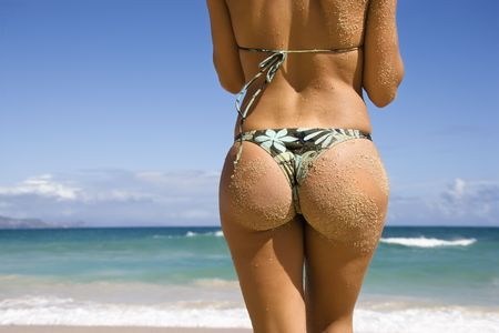 thongs: Back view of woman in thong bikini on Maui, Hawaii beach. Stock Photo