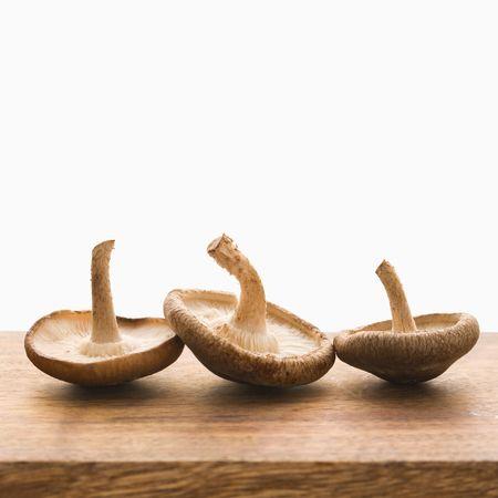 Three brown mushrooms upside down. photo