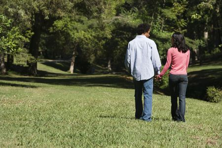 Couple holding hands walking and talking in park.