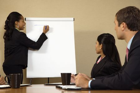 charting: Businesspeople sitting at conference table  while businesswoman gives presentation.