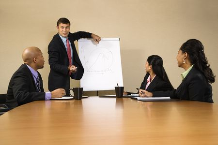 charting: Businesspeople sitting at conference table  while businessman gives presentation.