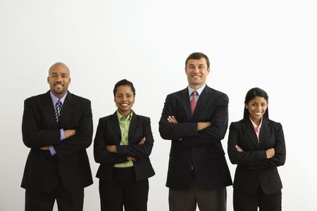 half length posed: Portrait of businessmen and businesswomen standing smiling with arms crossed. Stock Photo