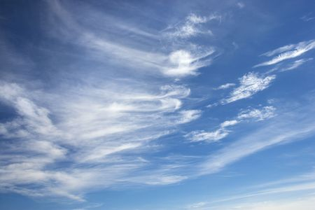 cirrus: Cirrus clouds in blue sky. Stock Photo