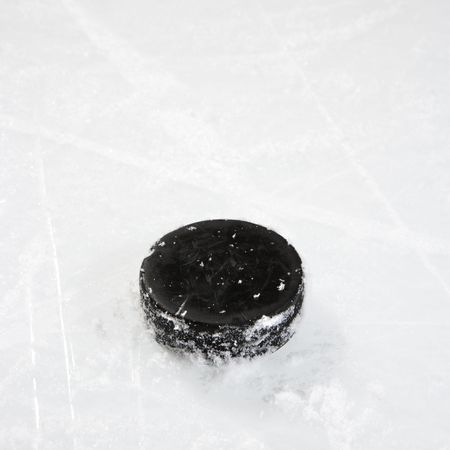 ice hockey puck: Black hockey puck on ice rink.