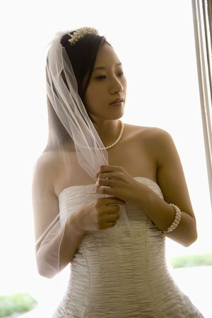 Portrait of an Asian bride holding her veil. Stock Photo - 2145663