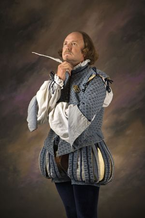 bard: William Shakespeare in period clothing holding feather pen with thoughtful expression.
