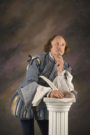 bard: William Shakespeare in period clothing holding leaning on column with hand to chin in thoughtful expression.
