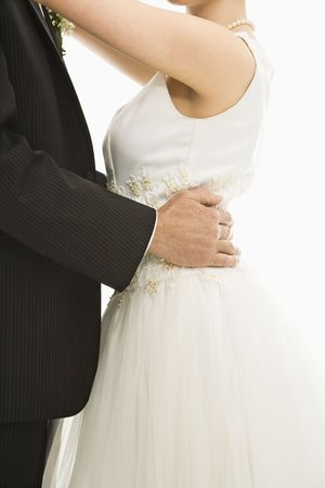 Close up of bride and groom dancing.
