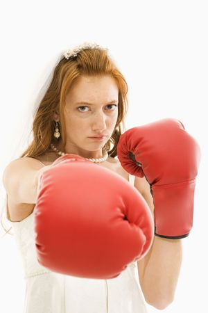 Caucasian bride with boxing gloves. Stock Photo - 2147460