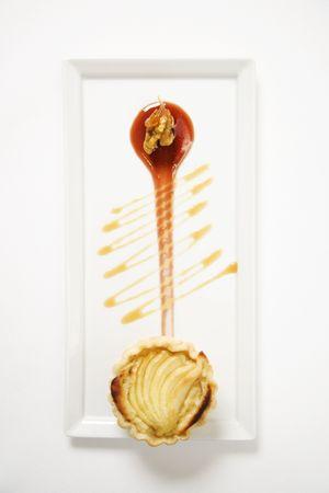stilton: Apple stilton tart with glazed walnuts and caramel.