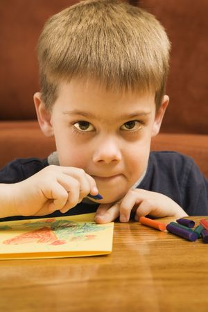 Caucasian boy drawing with crayons and looking at viewer. Stock Photo - 2190227