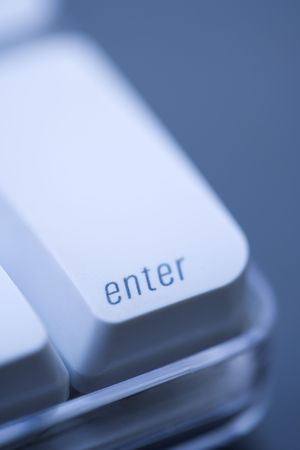 Close up of enter key on computer keyboard.