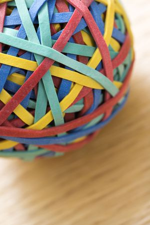 Still life of colorful rubber band ball. photo