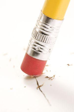 erasing: Close up of eraser erasing.