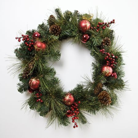 customs and celebrations: Still life of Christmas wreath.