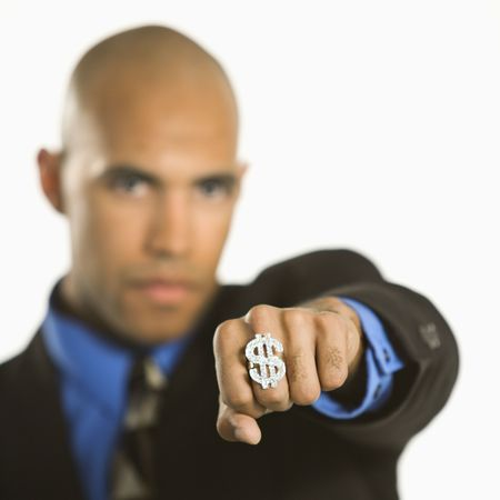 African American man wearing ring with money sign. Stock Photo - 2176586