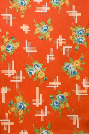 crosshatching: Close-up of red vintage fabric with colorful flowers printed on polyester. Stock Photo