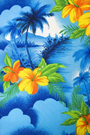 flower print: Close-up of bright blue Hawaiian vintage fabric with orange hibiscus flowers printed on polyester. Stock Photo