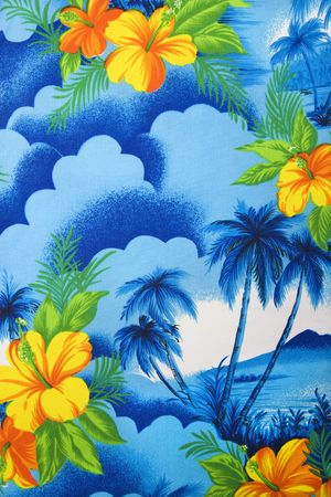 Close-up of bright blue Hawaiian vintage fabric with orange hibiscus flowers printed on polyester. Stock Photo
