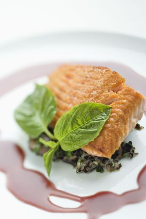 Still life of gourmet salmon meal with professional presentation. photo