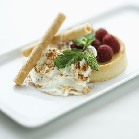 Still life of gourmet dessert with professional presentation. photo