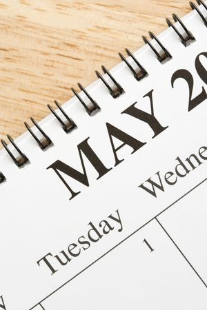 Close up of spiral bound calendar displaying month of May. Stock Photo - 2167862