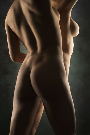nude lesbian: Back view of nude Hispanic and Caucasian women standing together.
