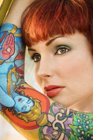 Close up portrait of attractive tattooed Caucasian woman in Maui, Hawaii, USA. Stock Photo - 2189578
