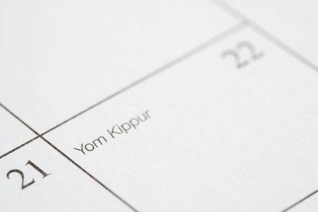 kippur: Close up of calendar displaying Yom Kippur.