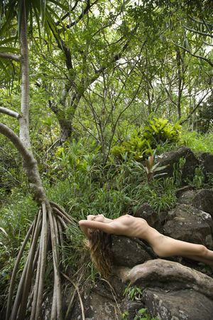 nude nature: Nude Caucasian young adult woman in lush forest stretched out over rock.