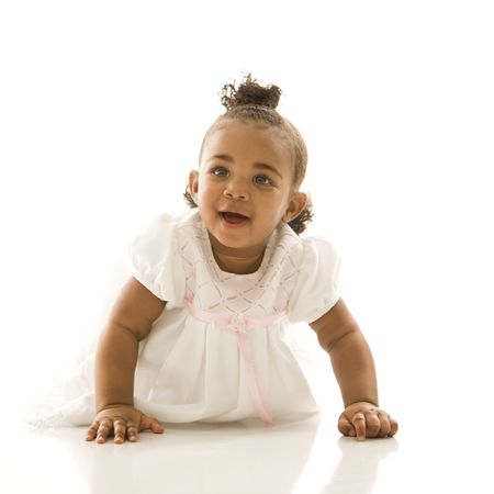 african american infant: Portrait of African American infant girl against white background.