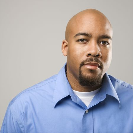 Portrait of African American man against gray background. Stock Photo - 2205499