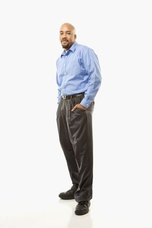Portrait of African American man standing against white background. Stock Photo - 2204740