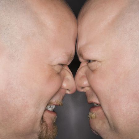 kinship: Close up of Caucasian bald mid adult identical twin men standing face to face with angry expression.