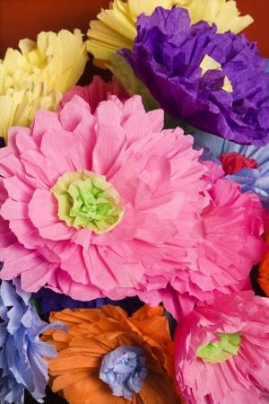 Colorful paper flower bouquet.